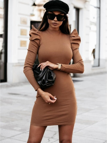 Khaki Knitted Dress with Puff Sleeve