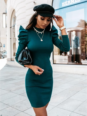 Green Knitted Dress with Puff Sleeve