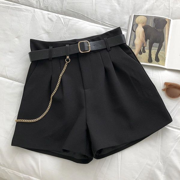 Elegant Wild Shorts With Belt