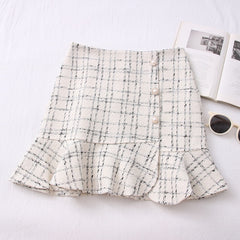 High Waist Tweed Wool Mini Skirt