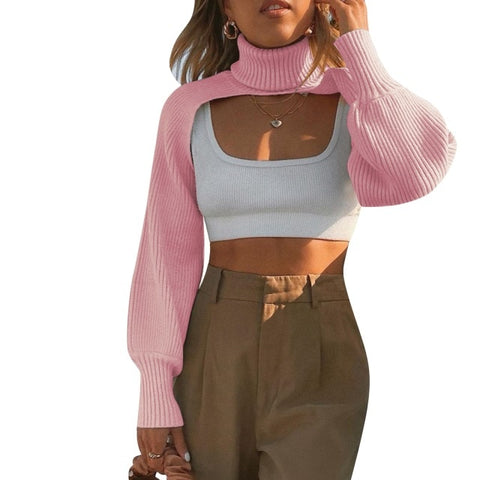 Knitted Crop Top with Puff Sleeve