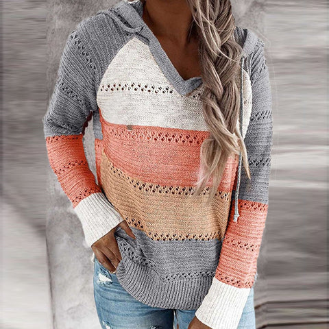 Orange Patchwork Knitted Jumper with Hoodie