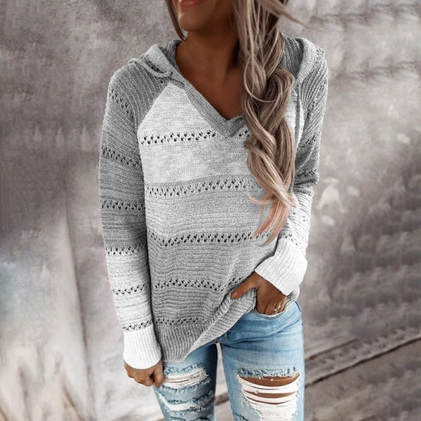 Grey Patchwork Knitted Jumper with Hoodie