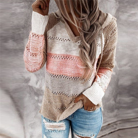 Pink Patchwork Knitted Jumper with Hoodie