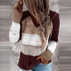 Brown Patchwork Knitted Jumper with Hoodie