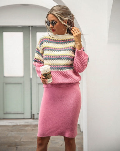 Knitted Pullovers+Midi Skirts With Lantern Sleeve
