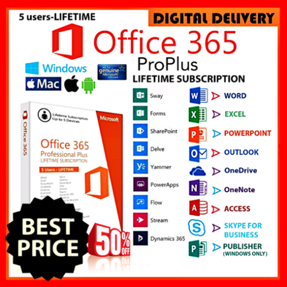 Microsoft office 365 Life time 2016/2019 For PC/MAC Digital Download