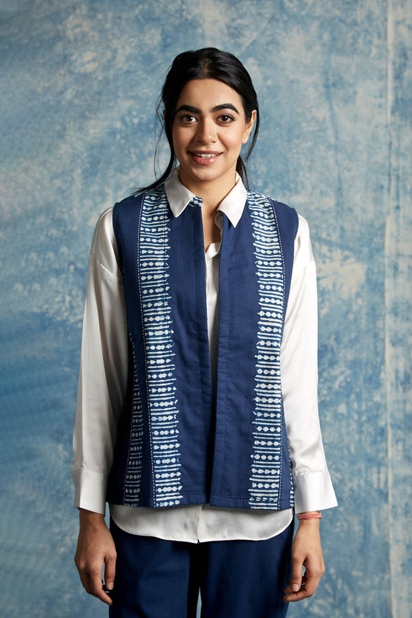 Indigo Applique Waist Coat