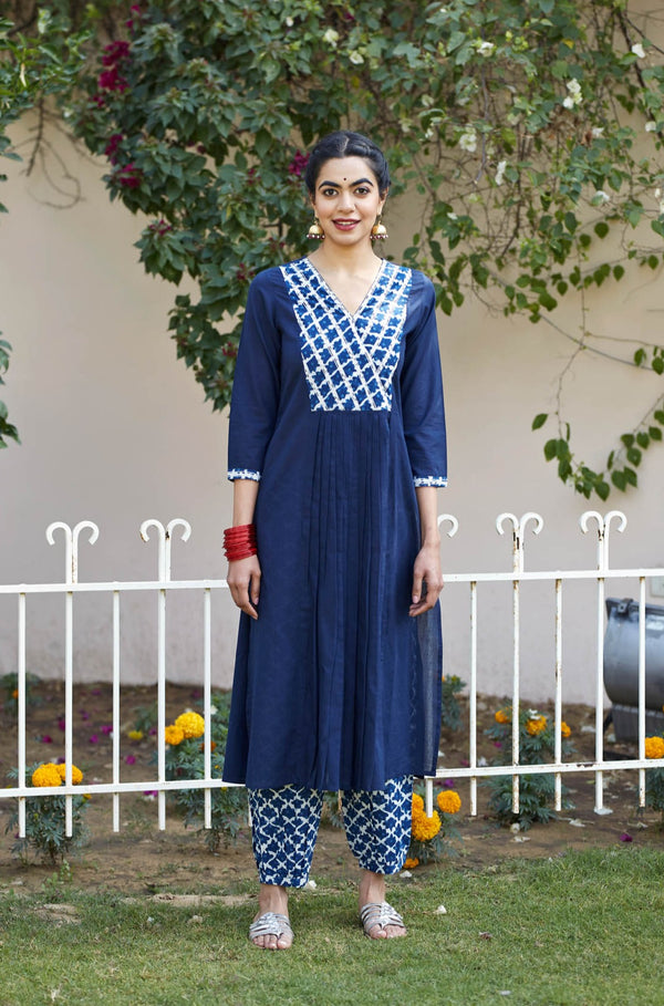 Indigo Lattice Kurta