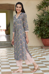 Grey Liliums Kurta
