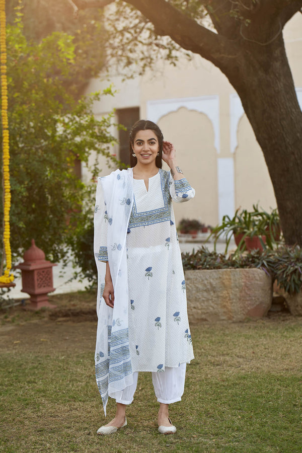 Blue Lotus Kurta