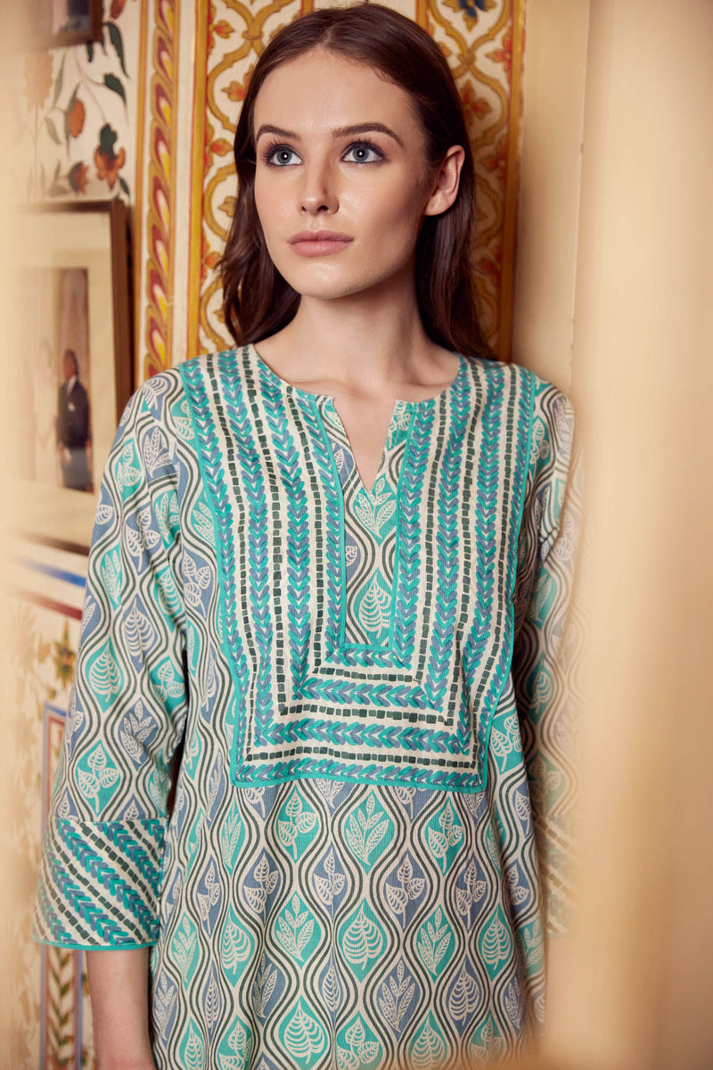 Blue Leaf Kurta