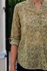 Olive Peonies Shirt