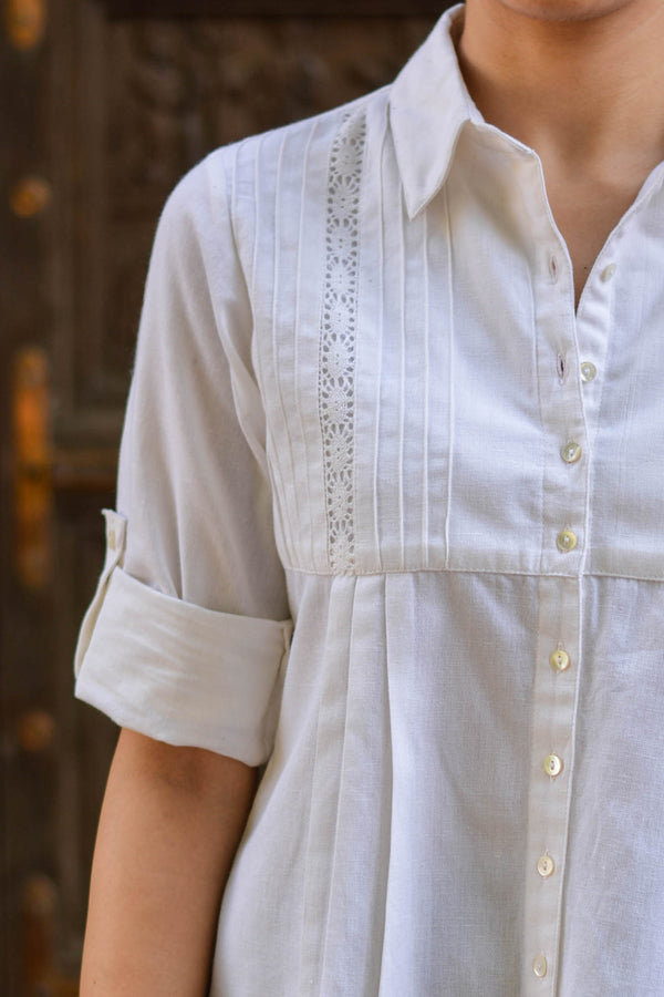 White Pleated Shirt