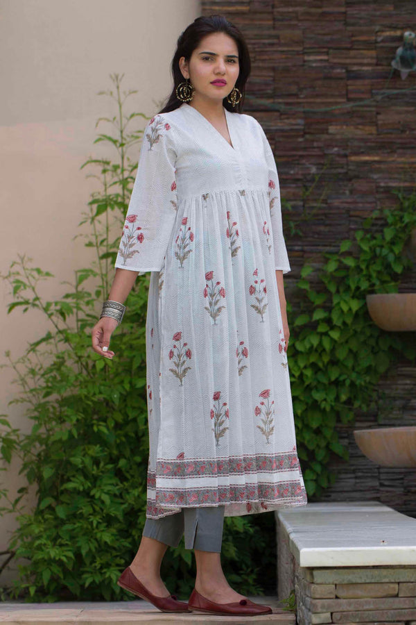 Gathered Floral Kurta