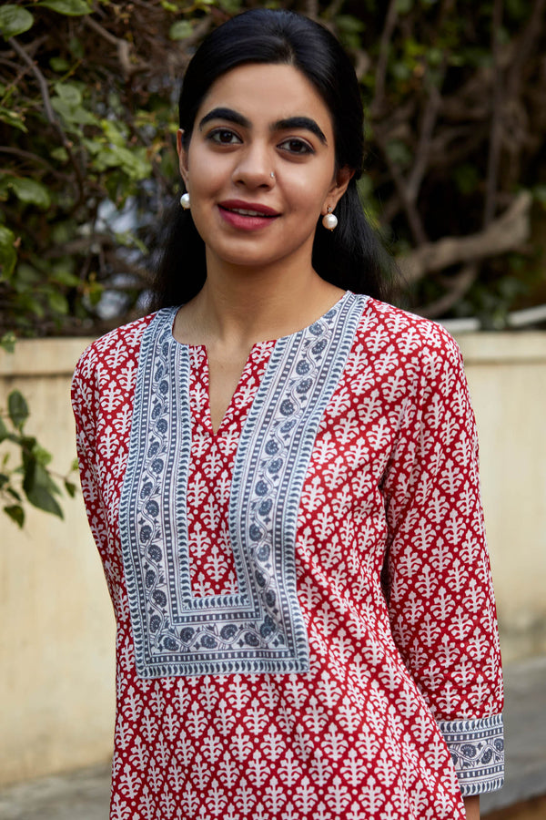 Red and Grey Kurta
