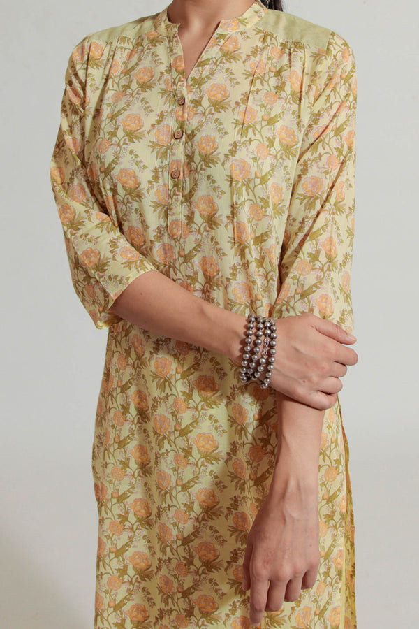 Yellow Peonies Kurta