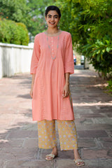 Peach Lace Kurta