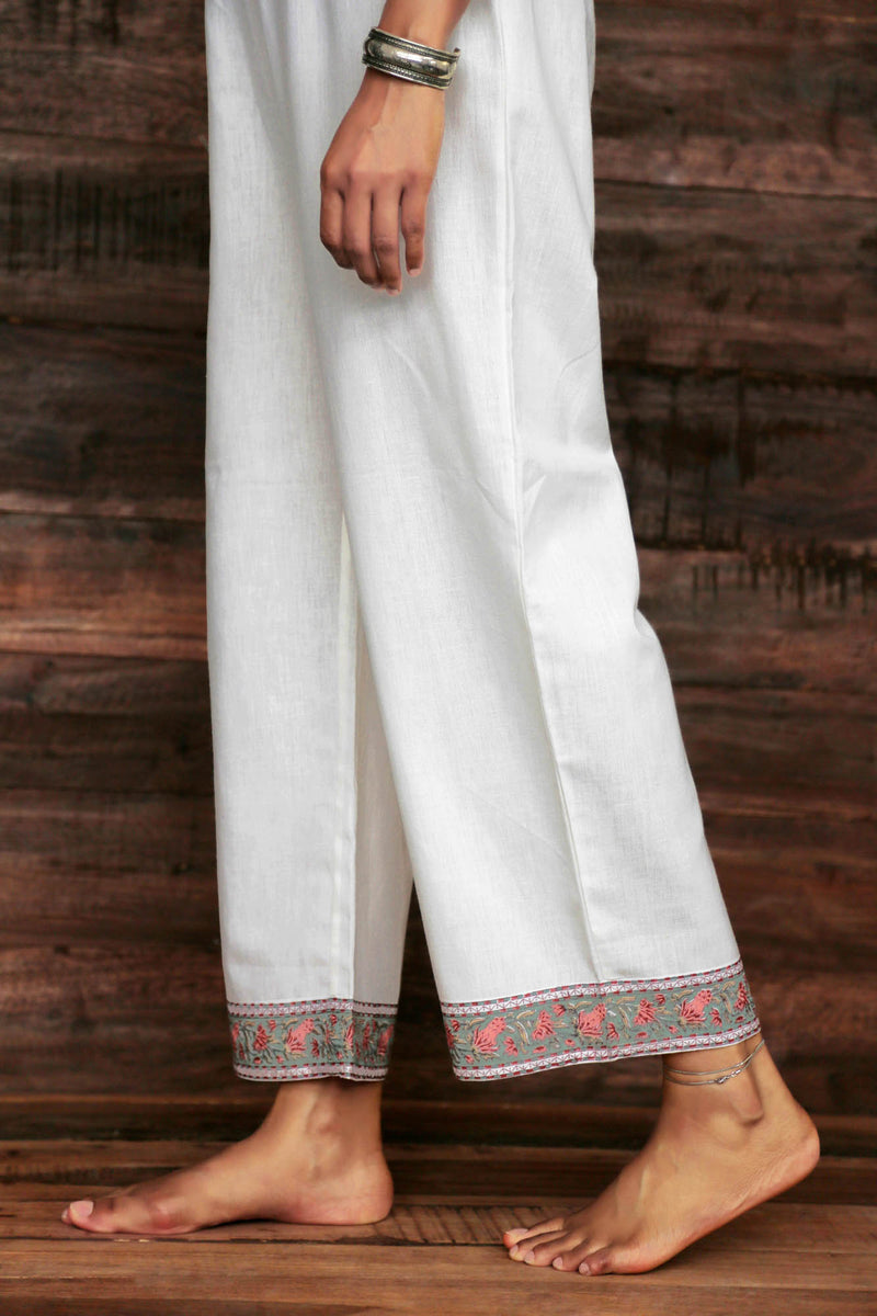 Wide Leg Trouser with Border