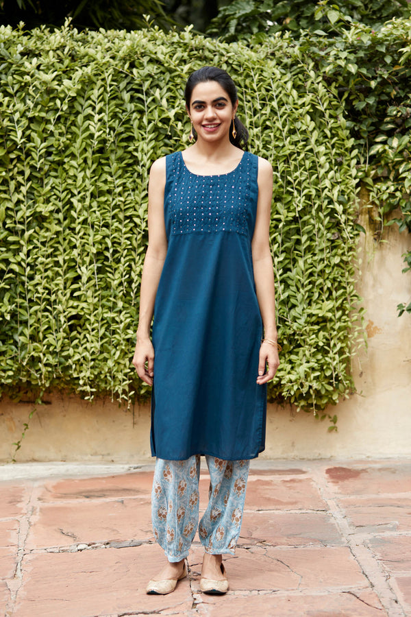 Blue Shell Tuck Kurta