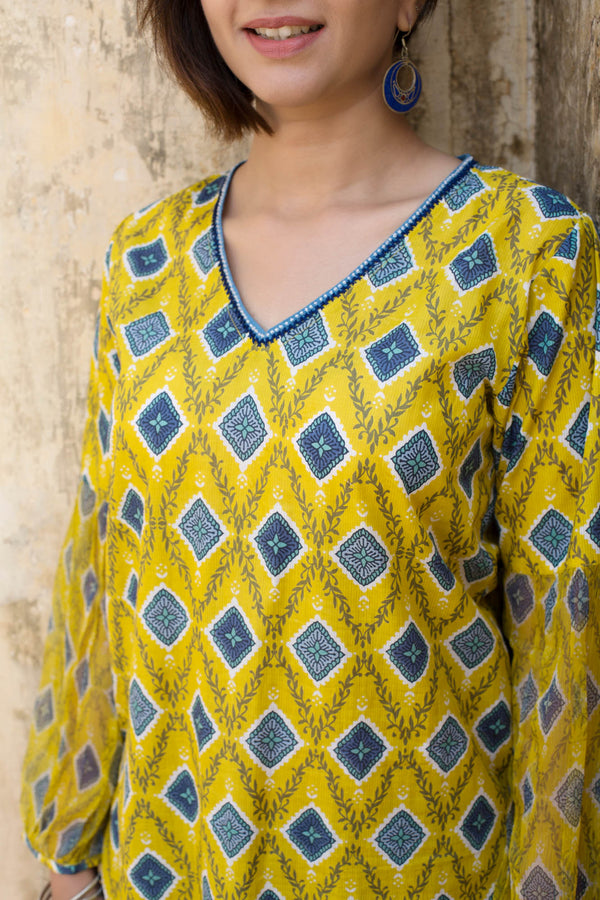 Yellow & Blue Diamond Kurta