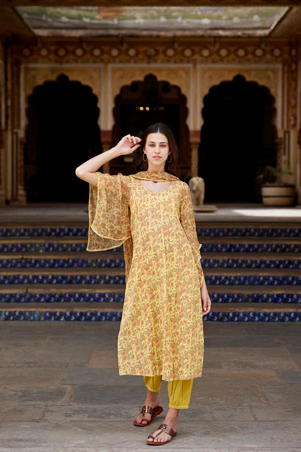 Yellow Hibiscus Kurta