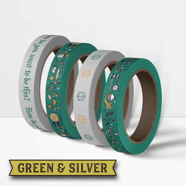 Critical Role Washi Tape 4 Pack: Green & Silver