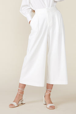 CLAUDINE WIDE LEG PANTS, WHITE