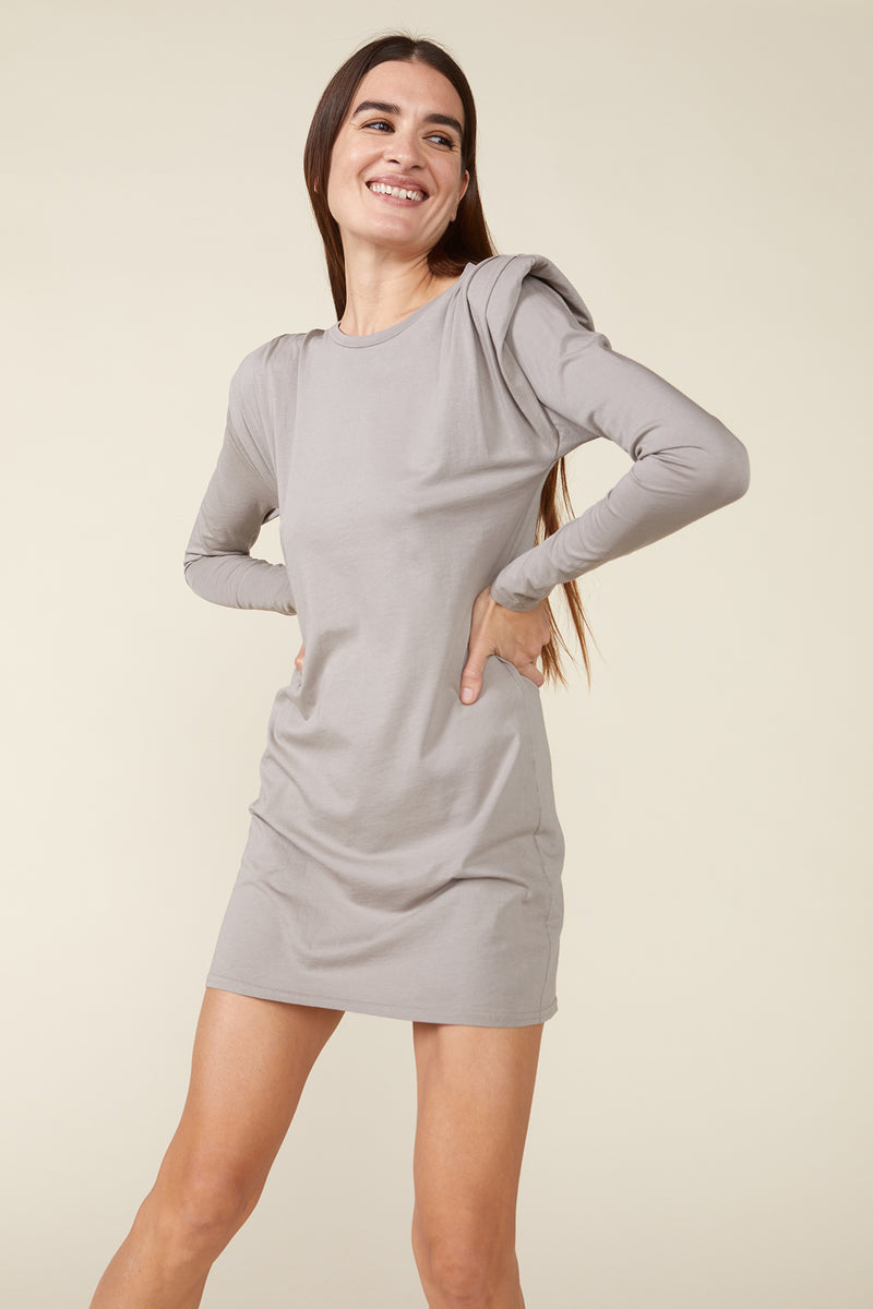 DUNE PADDED SHOULDER MINI DRESS - GREY