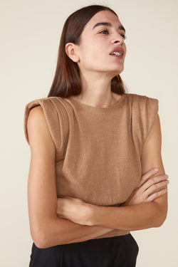 SIERRA PADDED SHOULDER SWEATER- CAMEL
