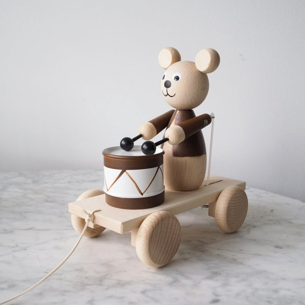 Cuthbert - Pull Along Wooden Bear Drummer