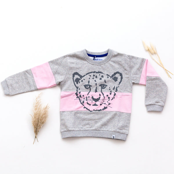 'Cheetah' Block Grey and Pink Sweater