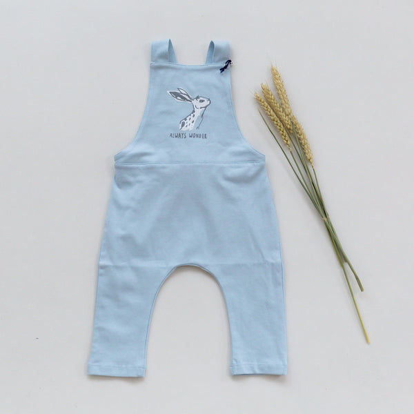 'Hare' Print Blue Dungarees