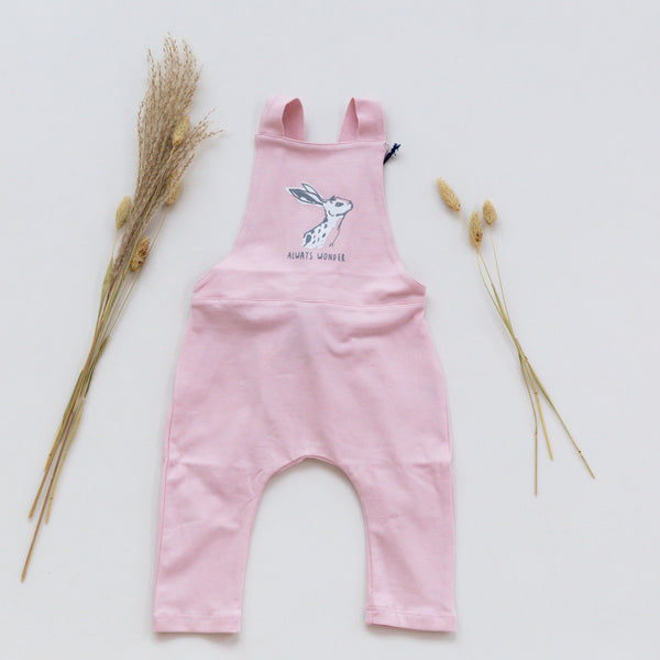 'Hare' Print Pink Dungarees