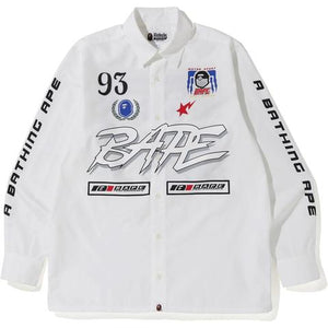 BAPE Motor Sport Wide Shirt White