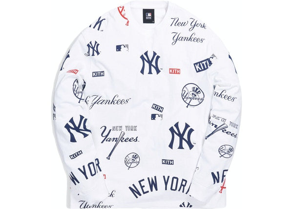 Kith For Major League Baseball New York Yankees All Over L/S Tee White