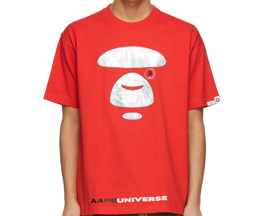 AAPE by A Bathing Ape Iridescent Logo Universe T-Shirt Red