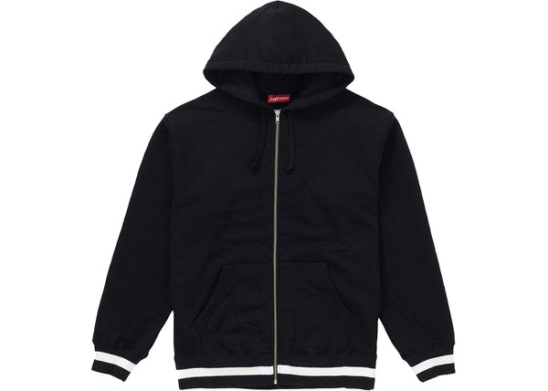 Supreme Old English Stripe Zip Up Sweatshirt Black
