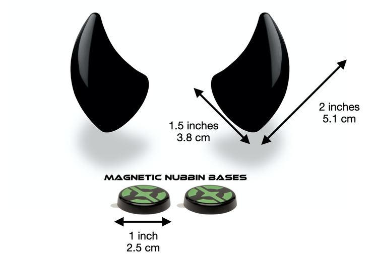 Small black devil horns for helmet with measurements