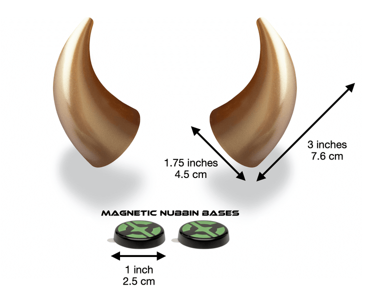 Large gold devil horns with measurements