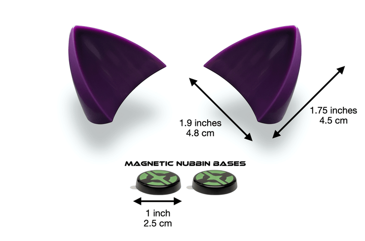 Purple cat ears for helmet with measurements