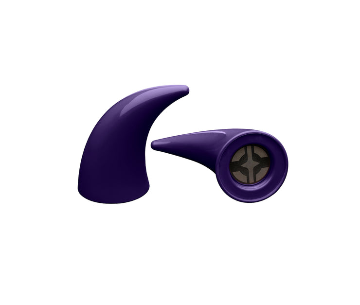 Large purple devil horns to mount on a helmet as an accessory one laying down