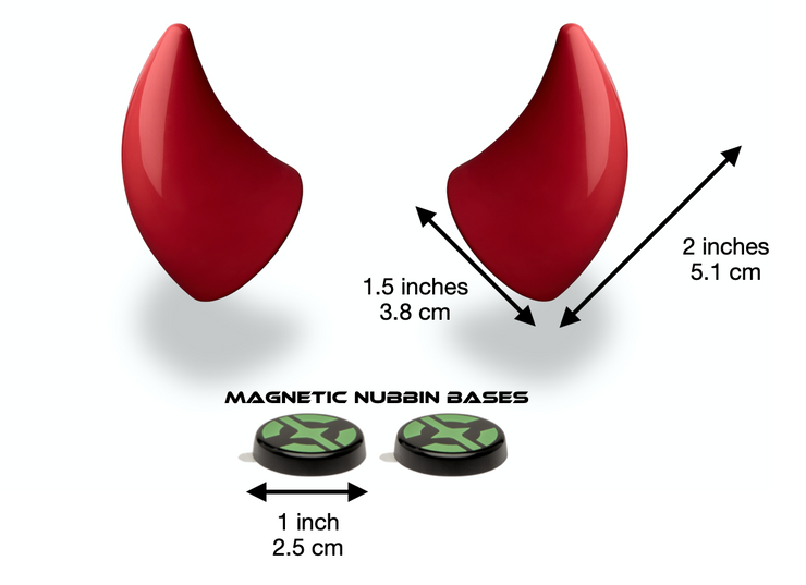 Small red devil horns for helmet with measurements