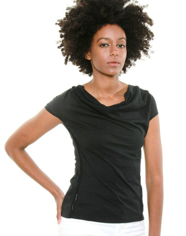 Women's Cowl Neck Cap Sleeved Tee