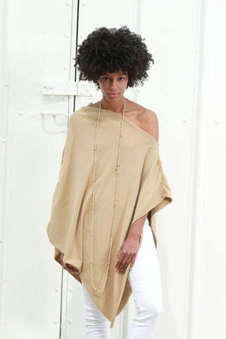 Women's Long Asymmetrical Poncho