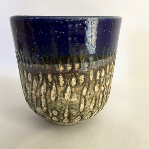 Indigo carved tumbler-medium