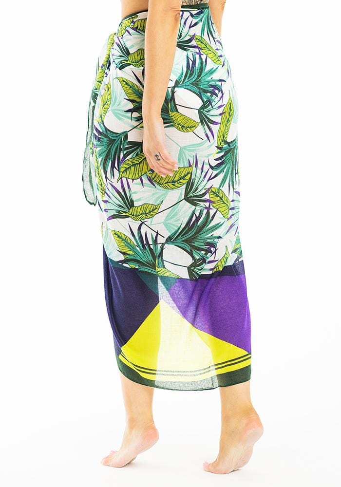 Green & Purple Tropical Sarong
