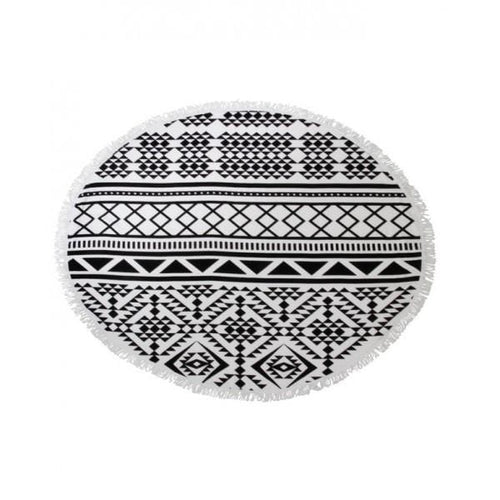black white aztec round towel hula beach