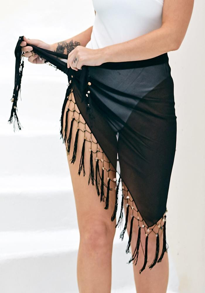 black shell chiffon triangle sarong hula beach