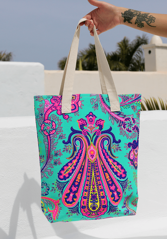 bali neon boho print beach bag hula beach